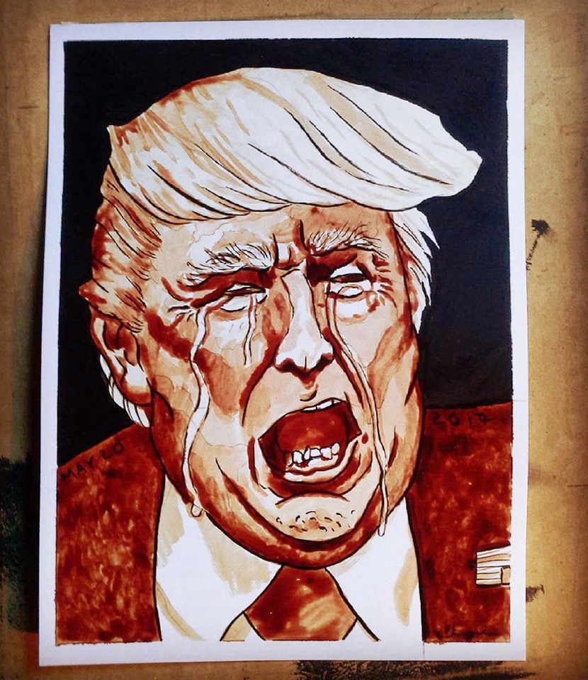 Trump Crying, a portrait in ink and menstrual blood